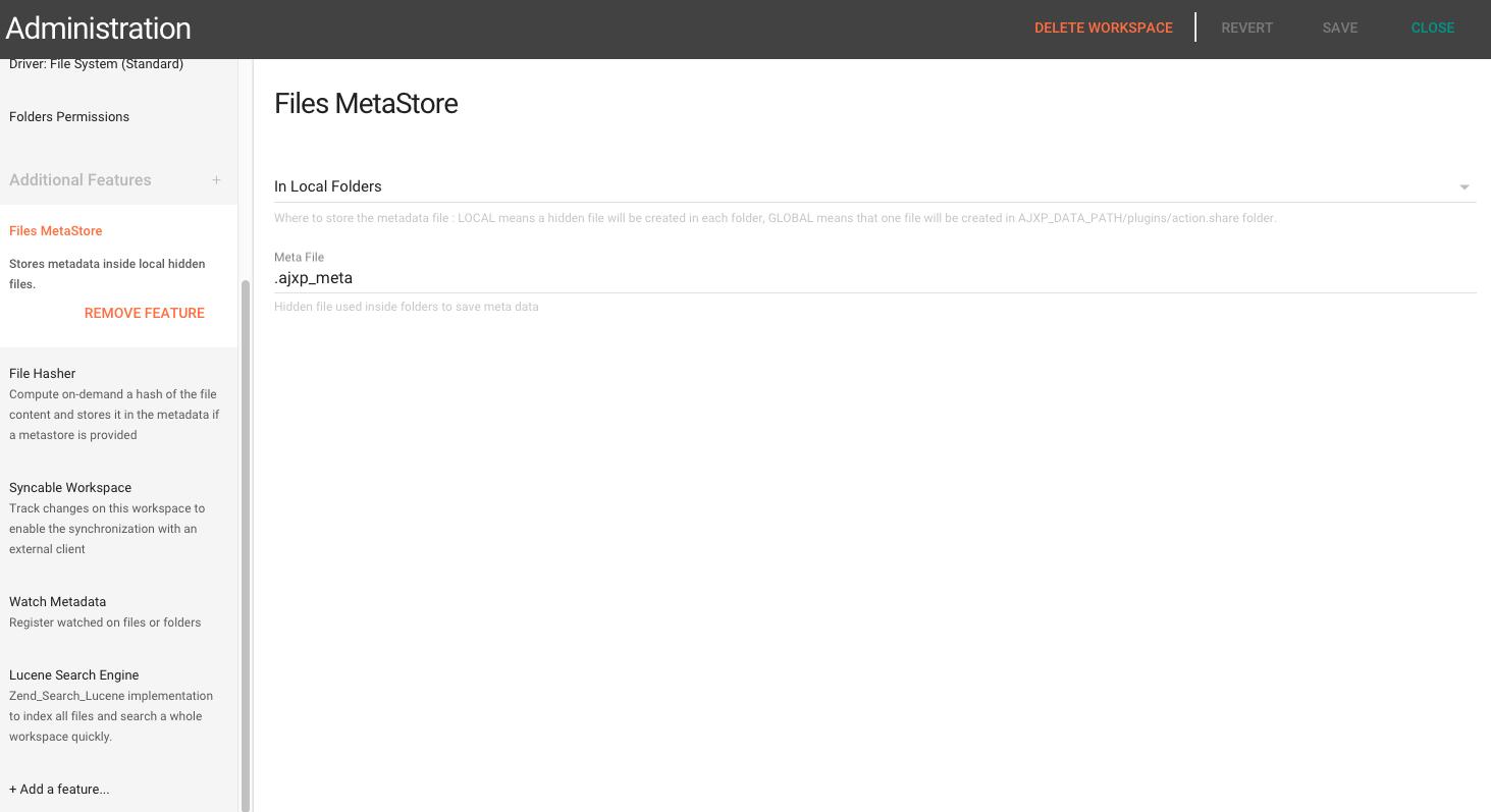 Metastore, meta & index plugins | Pydio